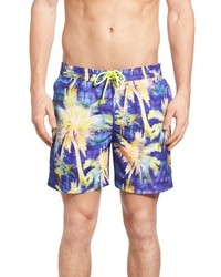 Original Penguin Psychedelic Palms Print Volley Swim Trunks