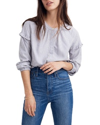 Madewell Stripe Collarless Ruffle Sleeve Shirt