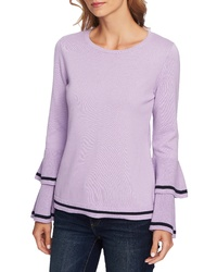 CeCe Ruffle Sleeve Cotton Sweater