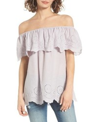 Eyelet Ruffle Off The Shoulder Top