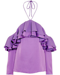 Emilio Pucci Off The Shoulder Ruffled Satin And Crepe Blouse Lilac
