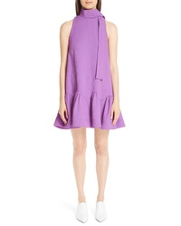Lela Rose Scarf Neck Wool Blend Crepe Drop Waist Dress