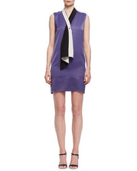 Lanvin Tie Neck Sleeveless Shift Dress Lilac