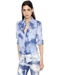 Dsquared2 Bleached Stretch Cotton Denim Shirt