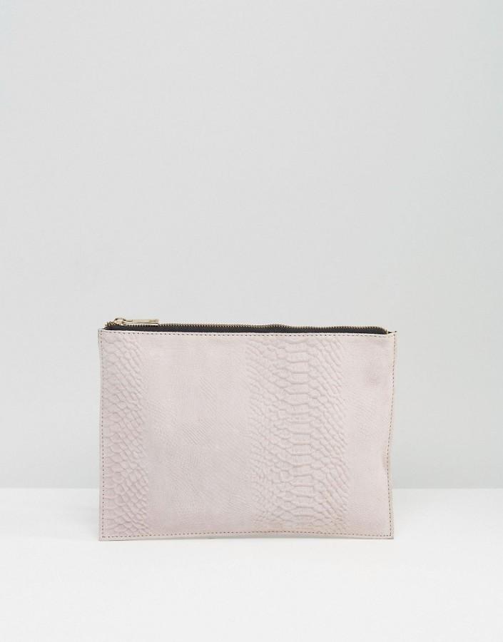 86ce4f47e Asos Suede Snake Embossed Zip Top Clutch Bag, $31 | Asos | Lookastic.com