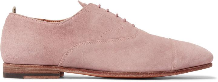 Officine Creative Cap Toe Suede Derby Shoes