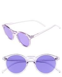 49mm Round Sunglasses Clear Purple