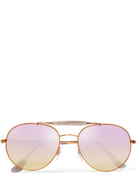 Ray-Ban Aviator Style Bronze Tone And Acetate Mirrored Sunglasses Lilac