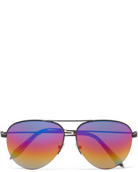 Victoria Beckham Aviator Style Metal Mirrored Sunglasses Purple