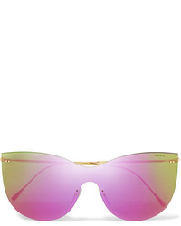 Illesteva Boca Mask Cat Eye Gold Tone Mirrored Sunglasses Purple
