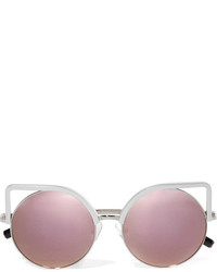 Matthew Williamson Cat Eye Silver Tone Mirrored Sunglasses Purple