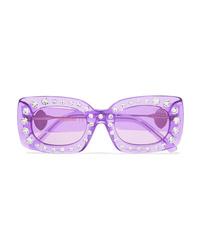 Poppy Lissiman Crystal Beth Square Frame Acetate Sunglasses