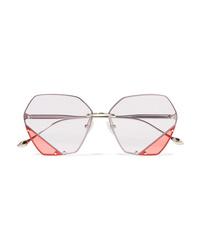 For Art's Sake Icy Hexagon Frame Stainless Sunglasses