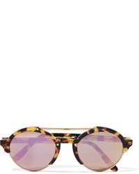 Illesteva Milan Ii Round Frame Acetate And Gold Tone Mirrored Sunglasses Purple