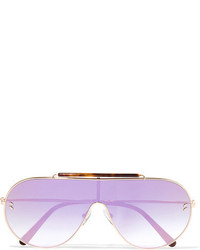 Stella McCartney Oversized Aviator Style Gold Tone And Tortoiseshell Acetate Mirrored Sunglasses Pink
