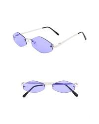 NEM Retro 55mm Rimless Geometric Sunglasses