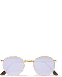 Ray-Ban Round Frame Gold Tone Mirrored Sunglasses Lilac
