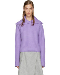 Carven Purple Vented Collar Sweater