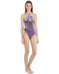 Emiliano Rinaldi Net Velvet One Piece Halter Swimsuit