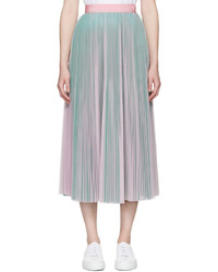 MSGM Pink And Green Tulle Skirt