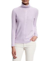 Loro Piana Long Sleeve Turtleneck Cashmere Sweater Lilac Blossom