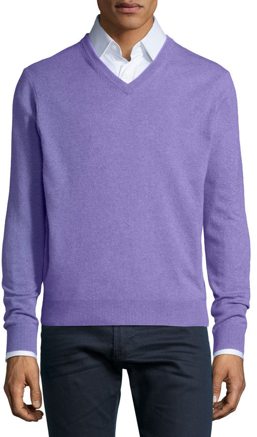 Neiman Marcus Cashmere V Neck Sweater Light Purple | Where to buy ...
