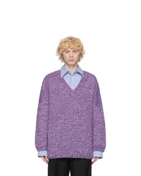 Loewe Purple And White Wool Oversized Sweater