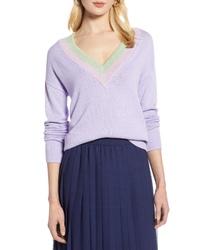 Halogen Shimmer V Neck Sweater