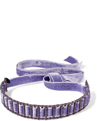 American graffiti velvet swarovski crystal choker purple medium 1191256