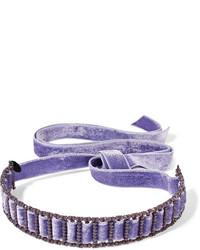 Erickson Beamon American Graffiti Velvet Swarovski Crystal Choker Purple
