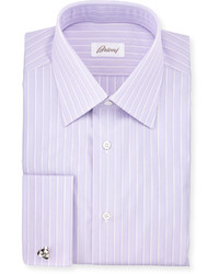 Satin stripe french cuff dress shirt purple medium 615036