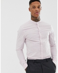 ASOS DESIGN Skinny Smart Work Stripe Shirt In Pink