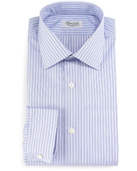Striped barrel cuff dress shirt purple medium 641841
