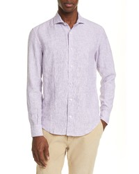 Eleventy Slim Fit Stripe Linen Button Up Shirt