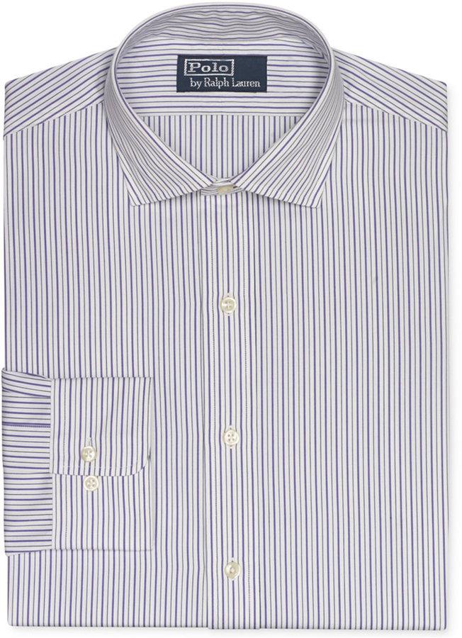 cheaper buy cheap details for Custom Fit Lavender And Navy Stripe Dress Shirt
