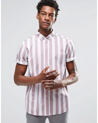 Brand shirt with breton stripe in dusty pink with short sleeves in regular fit medium 618779