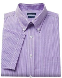 Croft Barrow Classic Fit Pinpoint Oxford Striped Button Down Collar Dress Shirt
