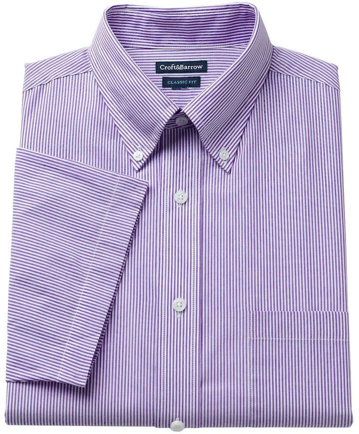 Beautiful Croft Barrow Classic Fit Pinpoint Oxford Striped Button Down  SM04