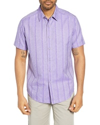 f0677ebc6b Light Violet Vertical Striped Short Sleeve Shirts for Men | Men's ...