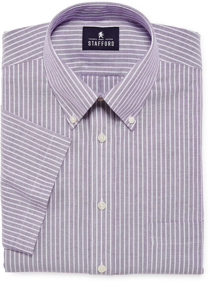 Jcpenney Stafford Travel Short Sleeve Wrinkle Free Oxford