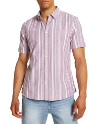 River Island Raspberry Stripe Short Sleeve Button Up Shirt