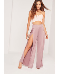Missguided Satin Split Front Wide Leg Trousers Lilac