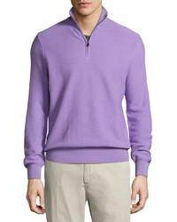 Ralph Lauren Wool Cashmere Quarter Zip Sweater Lavender