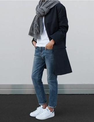 Look Negro Blanca Con Camiseta Abrigo Moda Circular De Cuello atgqra 992841cf262
