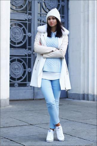 cuello de ochos Cómo piel celeste combinar blanco abrigo camisa jersey con de wIxq4tZ