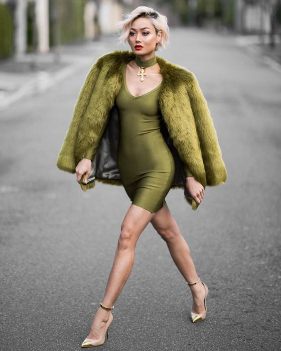 Ajustado Piel Moda De Abrigo Vestido Verde Oliva Look HqBZzx0SH