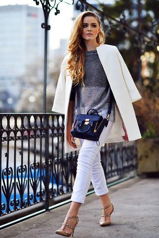 Cómo abrigo capri con jersey blanco pantalón combinar cuello circular gris blanco ArqwAOx