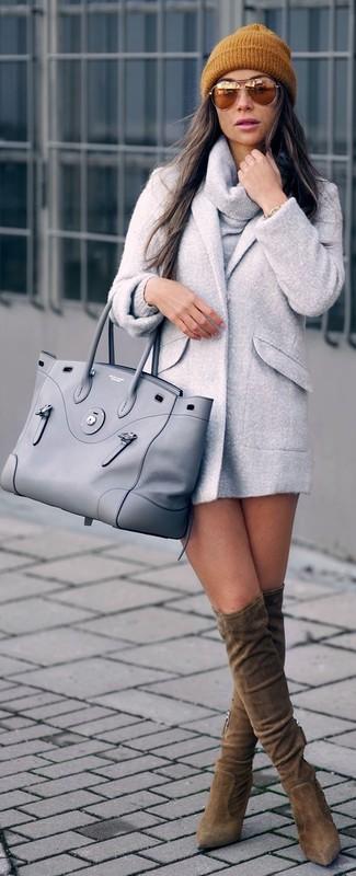 Bolsa tote de cuero gris de Saint Laurent