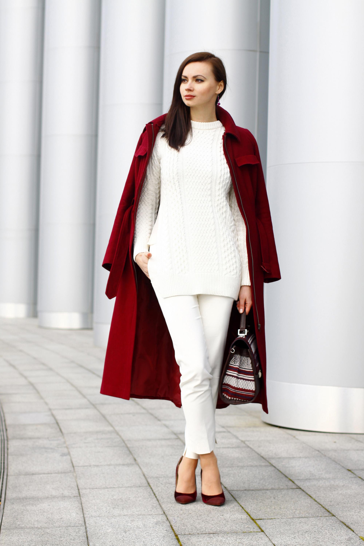 Look Blanco Ochos De Jersey Moda Pantalones Burdeos Abrigo xrXrwYpq