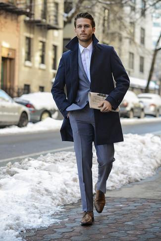 Largo Look Camisa Azul Abrigo Moda Traje De Gris Vestir Marino awxrOwvntq